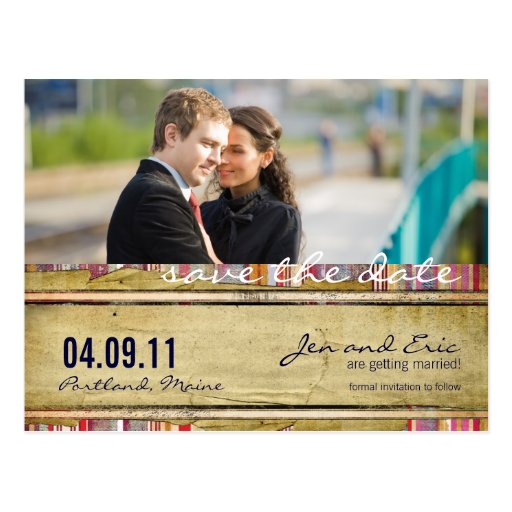 Striped Love Save the Date Postcard