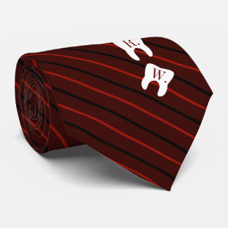Striped Maroon Dentistry Initialized Teeth Tie