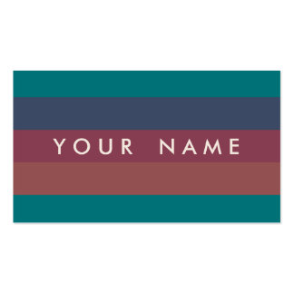 Striped Marsala, Teal, Berry & Blue Custom Double-Sided Standard Business Cards (Pack Of 100)