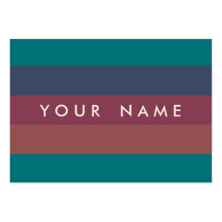 Striped Marsala, Teal, Berry & Blue Custom Chubby Large Business Cards (Pack Of 100)