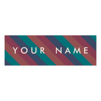 Striped Marsala, Teal, Berry & Blue Custom Skinny Double-Sided Mini Business Cards (Pack Of 20)