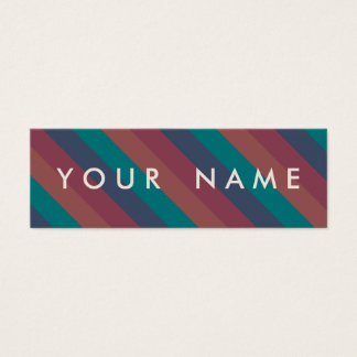 Striped Marsala, Teal, Berry & Blue Custom Skinny Mini Business Card