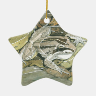 Striped Marsh Frog Ceramic Ornament