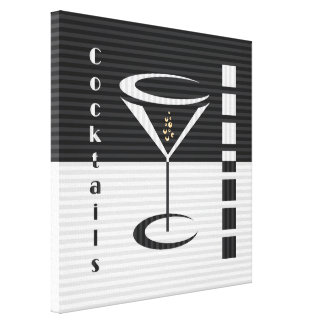 Striped Martini Stretched Canvas Prints