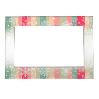 Striped Merry Christmas Holiday Design Magnetic Photo Frame