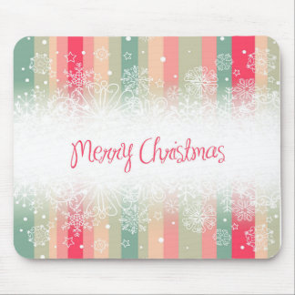 Striped Merry Christmas Holiday Design Mouse Pad