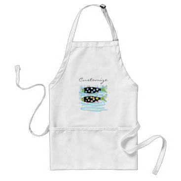 Beach Themed striped migrating fish any color Thunder_Cove Adult Apron