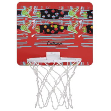 Beach Themed striped migrating fish any color Thunder_Cove Mini Basketball Hoop