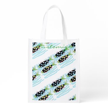 Beach Themed striped migrating fish any color Thunder_Cove Reusable Grocery Bag