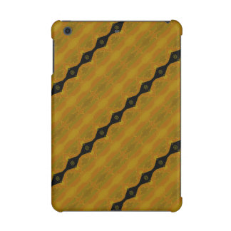 Striped Modern Abstract in Black, Gold, and Olive iPad Mini Cover