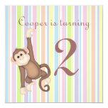 Striped Monkey Birthday Invitation