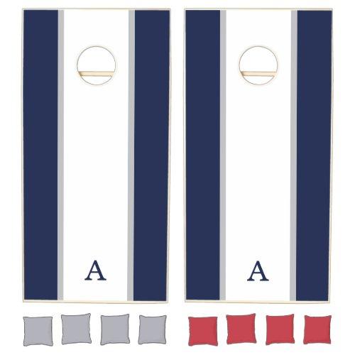 Striped Monogram Cornhole Set