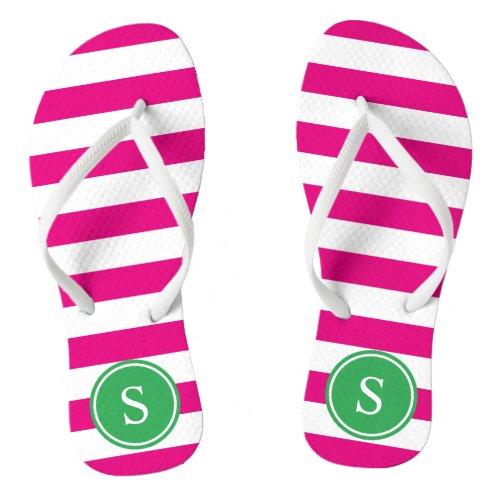 Striped Monogram in Pink & Green Flip Flops