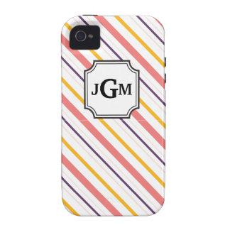 Striped Monogram iPhone Case iPhone 4/4S Case