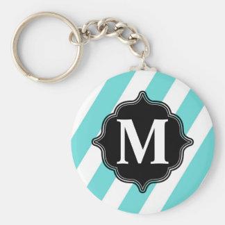Striped Monogram Key Chain