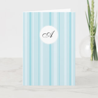 Striped Monogram - Shades of Blue Note Card