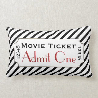 Striped Movie Ticket Cinema Pillow
