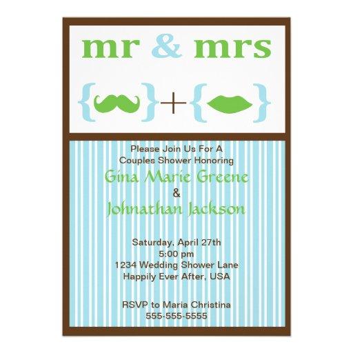 Striped Mr. and Mrs. Shower Invitation