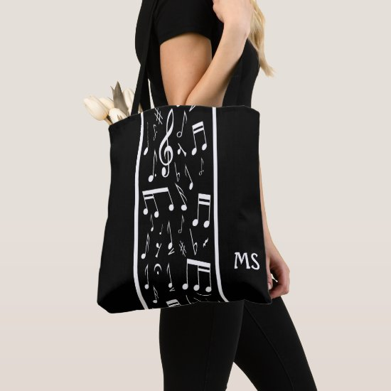 Striped Music Notes Black and White Tote Bag