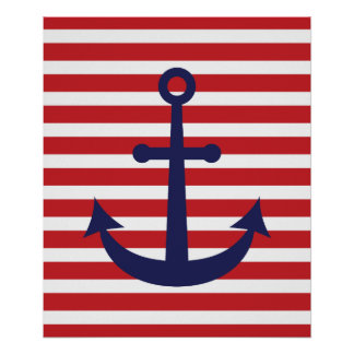 Striped Nautical Anchor Poster