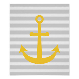 Striped Nautical Anchor Posters