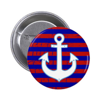 striped nautical sailor anchor pinback button