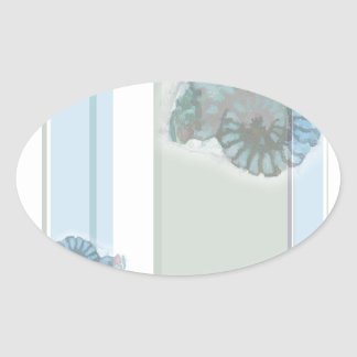 Striped Nautilus Oval Sticker