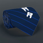 """Striped Navy Dentistry Initialized Teeth Neck Tie<br><div class=""""desc"""">An elegant navy striped tie featuring two teeth covered in yours or your gift recipient"""