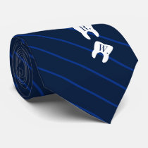 Striped Navy Dentistry Initialized Teeth Neck Tie
