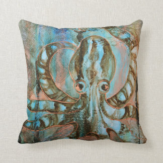 Striped Octopus Sea Creature Art Pillow