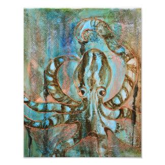 Striped Octopus Sea Creature Art Print Photo Print