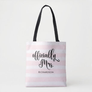 Striped Officially Mrs | New Bride Personalized Tote Bag