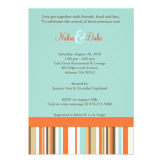 Striped orange and blue babyshower invitation