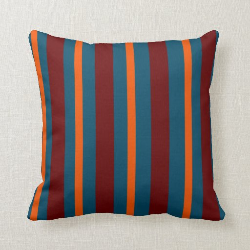 Teal And Red Decorative Pillows : Striped: Orange, Dark Teal & Red throw pillow Zazzle