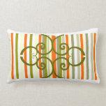 Striped Orange Green Throw Pillow
