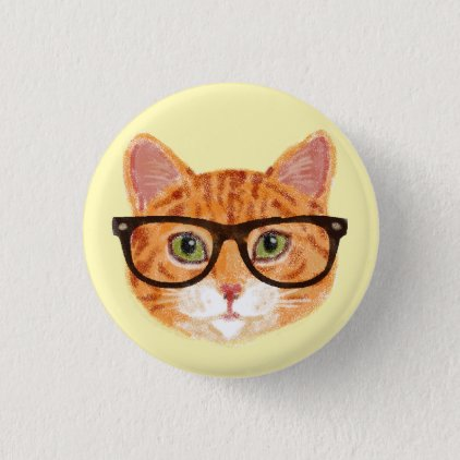 Striped Orange Hipster Cat Wearing Glasses Button