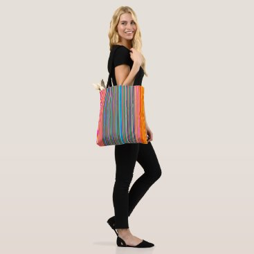 Beach Themed Striped Orange/Pink /Aqua  > Colourful Tote Bag
