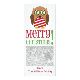 Striped Owl Christmas Photo Invite Greeting