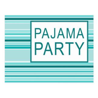 striped pajama party postcard