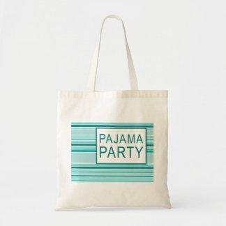 striped pajama party tote bag