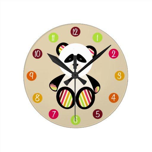 Striped Panda Clock