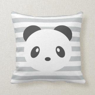Striped panda throw pillow