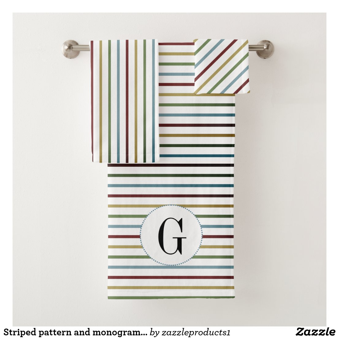 Striped pattern and monogram bathroom towel set