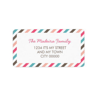 Striped Pattern Blue Pink Brown Diagonal Stripes Label