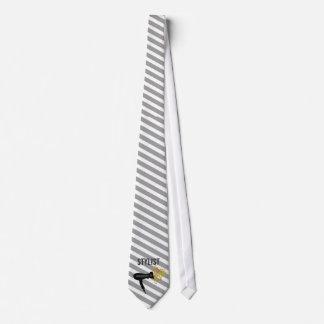 Striped Pattern Hair Stylist Elegant Style Neck Tie