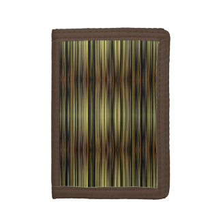 Striped pattern yellow black colors trifold wallet