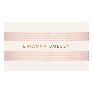 Striped Peach Pink Trendy Chevron Elegant Chic Double-Sided Standard Business Cards (Pack Of 100)