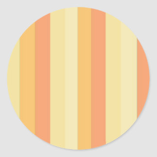 Striped Peaches and Cream Classic Round Sticker