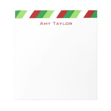 Christmas Themed Striped Personalized Christmas Notepad