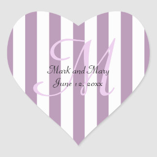 Striped Pick Any Color Wedding Personalized Heart Sticker